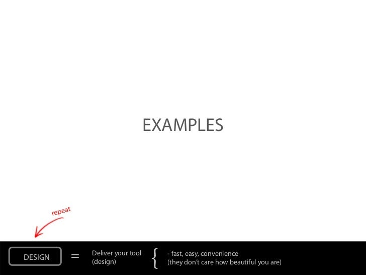 EXAMPLESDESIGN   =   Deliver your tool             (design)            {   - fast, easy, convenience                      ...