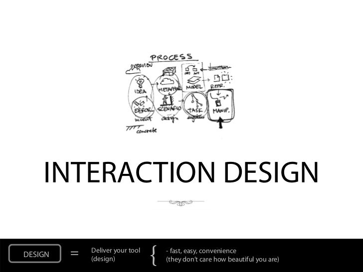 INTERACTION DESIGNDESIGN   =   Deliver your tool             (design)            {   - fast, easy, convenience            ...