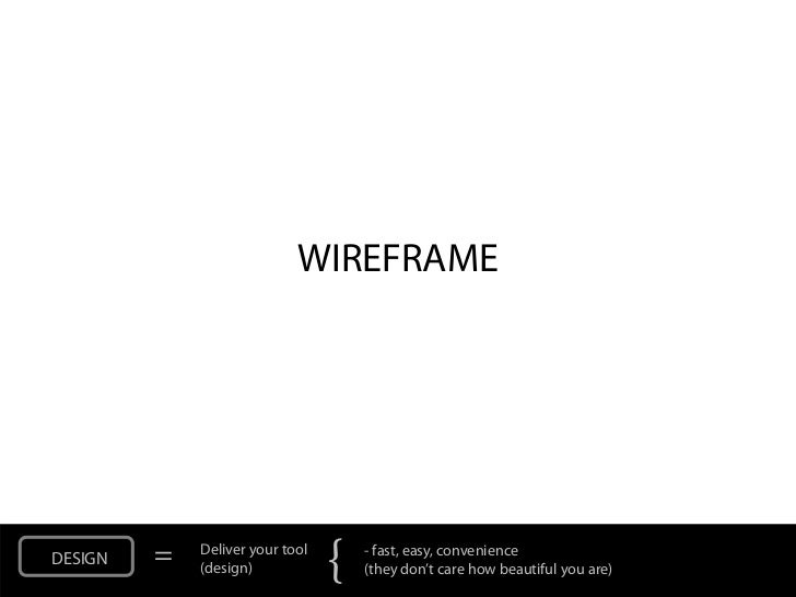 WIREFRAMEDESIGN   =   Deliver your tool             (design)            {   - fast, easy, convenience                     ...