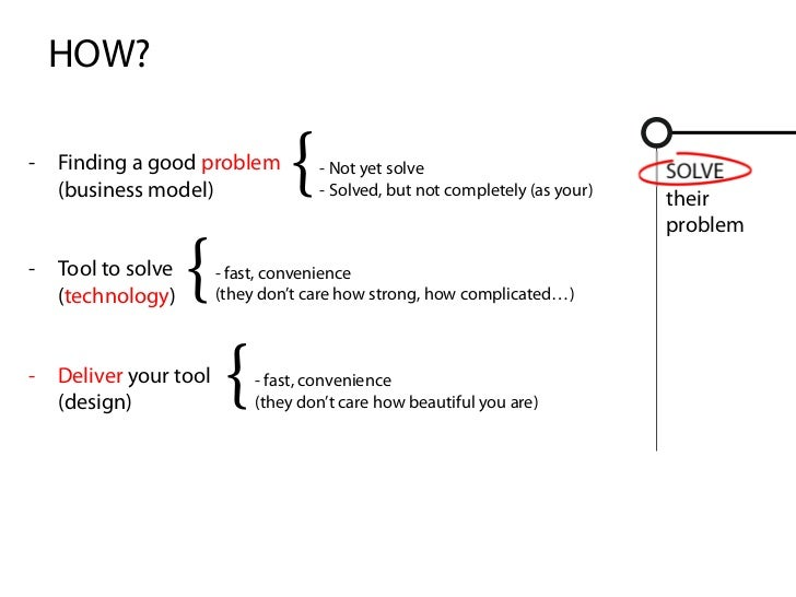 HOW?-   Finding a good problem    (business model)                                 {   - Not yet solve                    ...