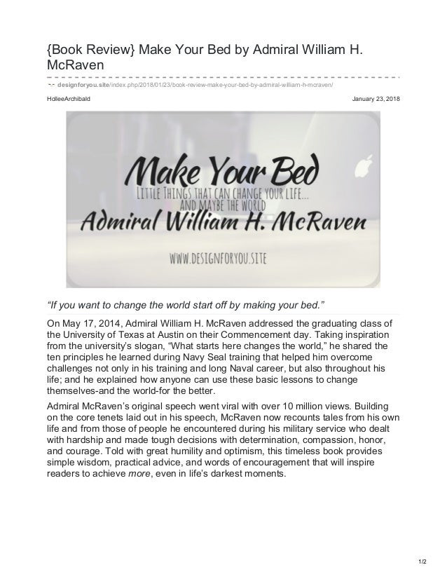 william h mcraven make your bed