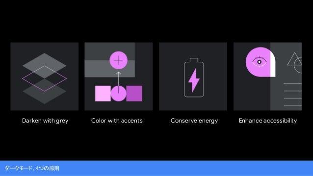 ダークモード、4つの原則 Darken with grey Color with accents Conserve energy Enhance accessibility