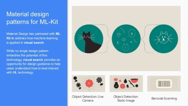 Material design patterns for ML-Kit Material Design has partnered with ML Kit to address how machine learning is applied i...