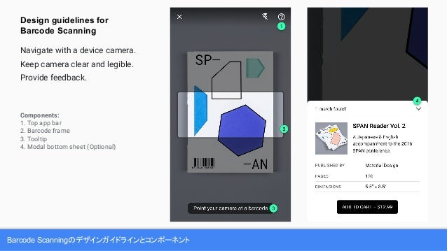 Barcode Scanningのデザインガイドラインとコンポーネント Components: 1. Top app bar 2. Barcode frame 3. Tooltip 4. Modal bottom sheet (Optional...