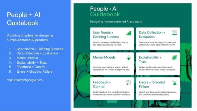 People + AI Guidebook. 人間中心のAI製品をデザインするさいの指南書。 https://pair.withgoogle.com/