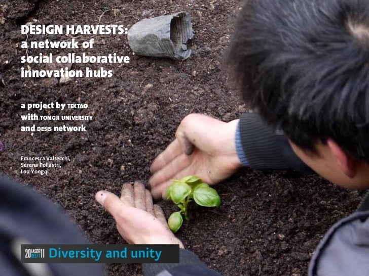 DESIGN HARVESTS:a network ofsocial collaborativeinnovation hubsa project by tektaowith tongji universityand desis networkF...