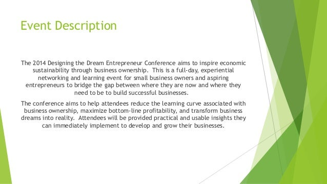 Designing The Dream Entrepreneur Conference Sponsorship Proposal
