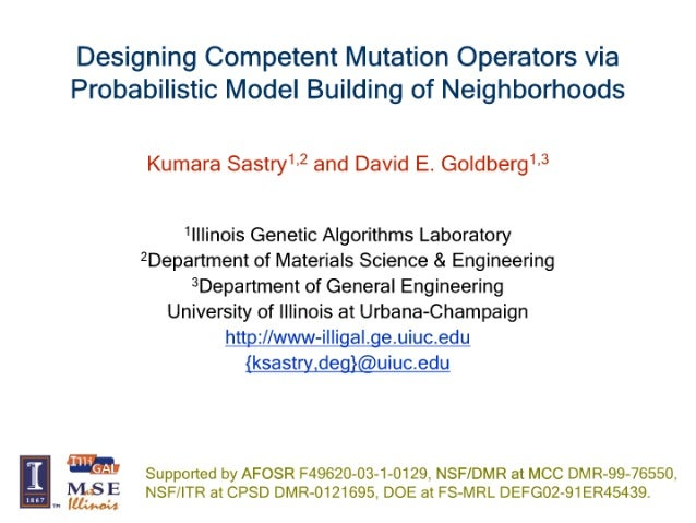 Designing Competent Mutation Operators via Probabilistic Model Building of Neighborhoods