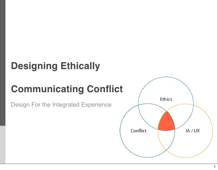 Designing Ethically  Communicating Conflict Design For the Integrated Experience                                            1