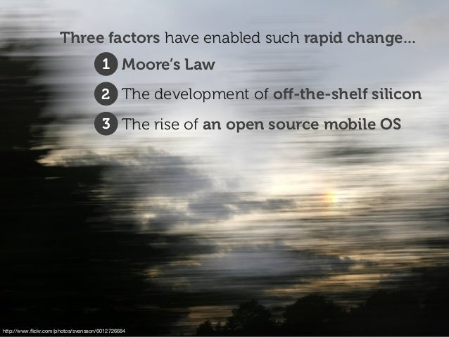 http://www.flickr.com/photos/svensson/6012726684 Three factors have enabled such rapid change... 1. Moore's Law 2. The deve...