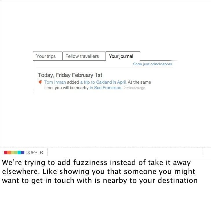 DOPPLR                    DOPPLR           DOPPLR  We're trying to add fuzziness instead of take it away Where next? elsew...