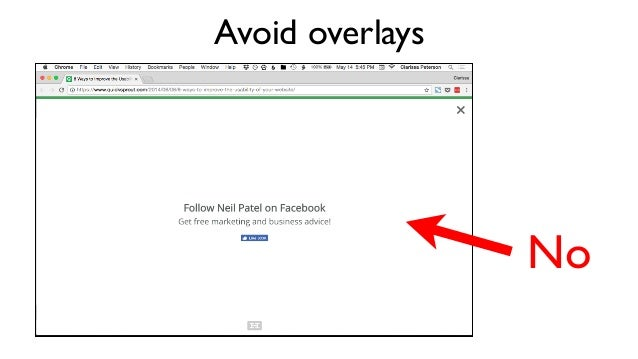 Avoid overlays More No
