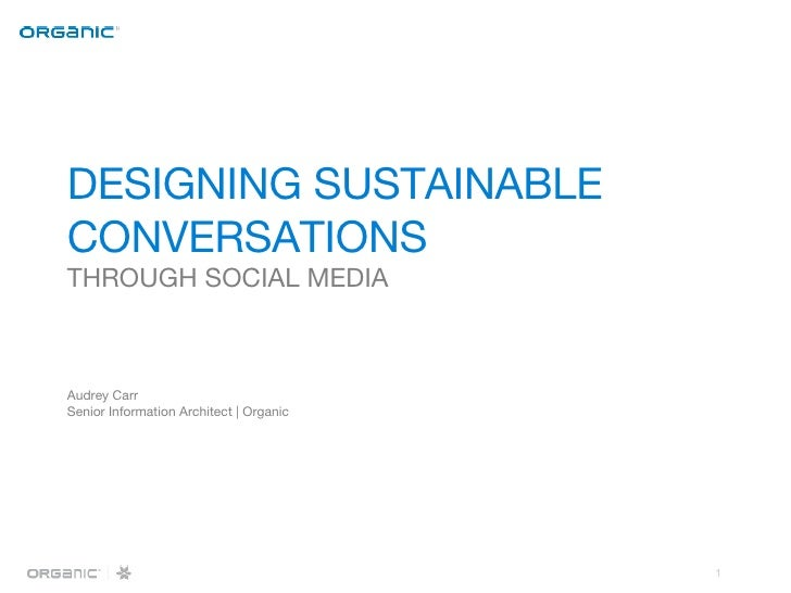 DESIGNING SUSTAINABLE  CONVERSATIONS THROUGH SOCIAL MEDIA Audrey Carr Senior Information Architect | Organic