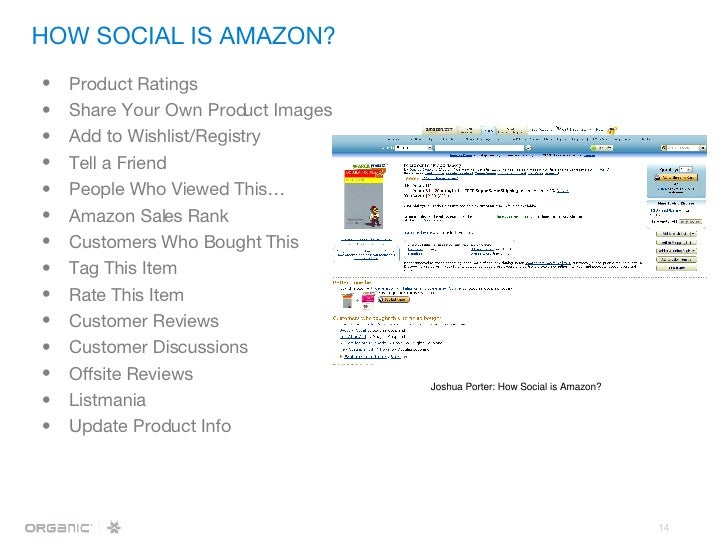 HOW SOCIAL IS AMAZON? <ul><li>Product Ratings </li></ul><ul><li>Share Your Own Product Images </li></ul><ul><li>Add to Wis...