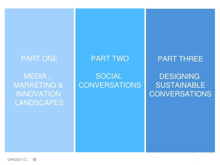 PART ONE MEDIA ,  MARKETING &  INNOVATION  LANDSCAPES PART TWO SOCIAL  CONVERSATIONS PART THREE DESIGNING  SUSTAINABLE CON...
