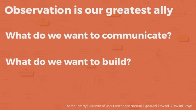 What do we want to communicate? Observation is our greatest ally What do we want to build? Aaron Irizarry | Director of Us...