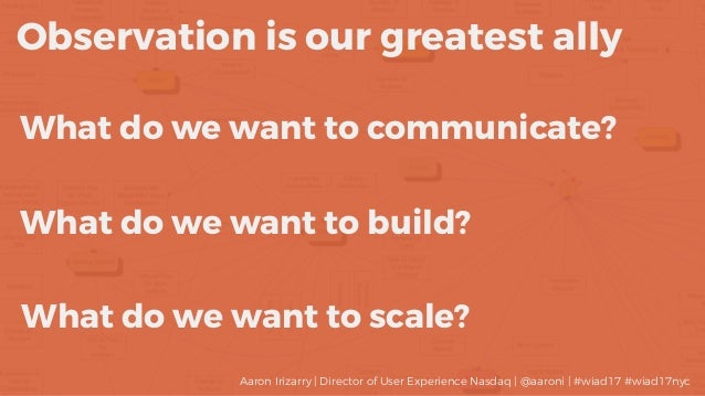 What do we want to communicate? Observation is our greatest ally What do we want to build? What do we want to scale? Aaron...