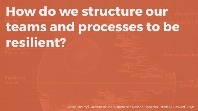 How do we structure our teams and processes to be resilient? Aaron Irizarry | Director of User Experience Nasdaq | @aaroni...
