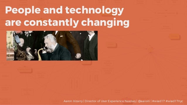 People and technology are constantly changing Aaron Irizarry | Director of User Experience Nasdaq | @aaroni | #wiad17 #wia...