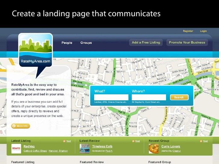 Create a landing page that communicates