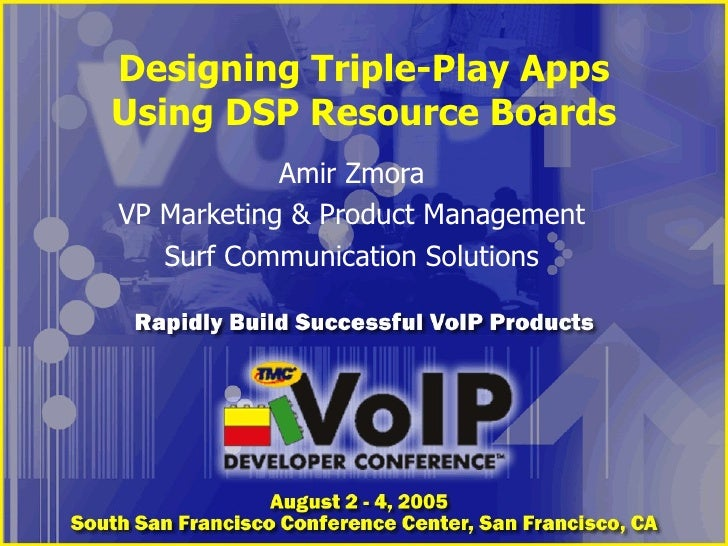 Designing Triple-Play Apps Using DSP Resource Boards Amir Zmora VP Marketing & Product Management Surf Communication Solut...
