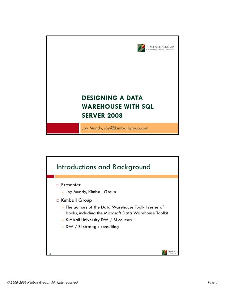 DESIGNING A DATA                                                   WAREHOUSE WITH SQL                                     ...