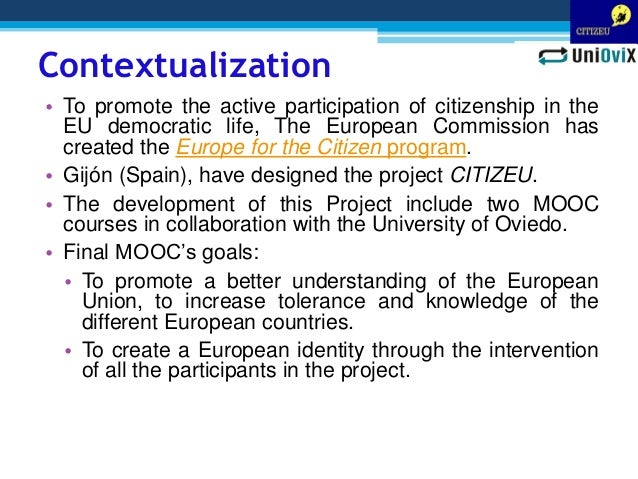 Designing a MOOC course for promoting the active participation of European citizenship Slide 2