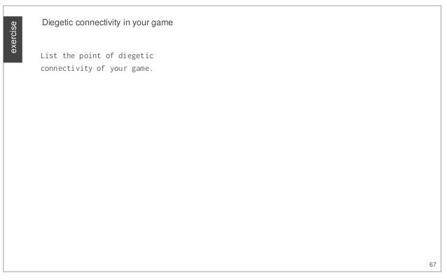 exercise 67 Diegetic connectivity in your game List the point of diegetic connectivity of your game.