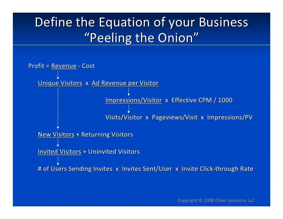 """DefinetheEquationofyourBusiness           """"PeelingtheOnion"""" Profit=Revenue ‐ Cost     UniqueVisitors xAdReven..."""