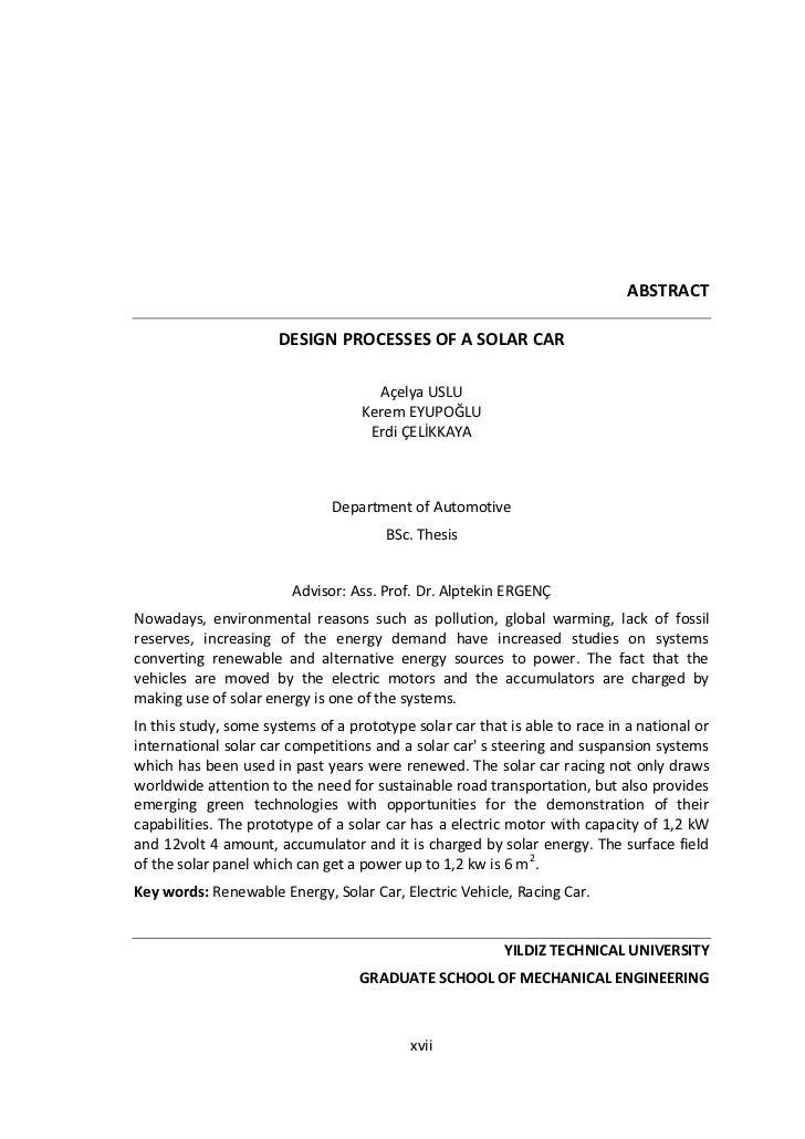 ABSTRACT                      DESIGN PROCESSES OF A SOLAR CAR                                     Açelya USLU             ...