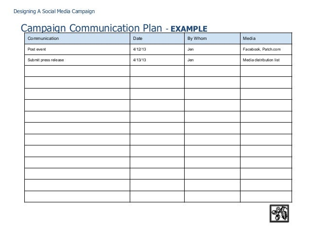 Designing a social media campaign for Social media communication plan template