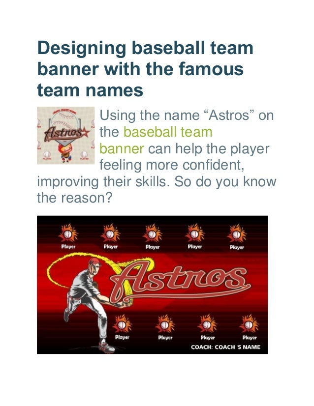designing baseball team banner with the famous team names