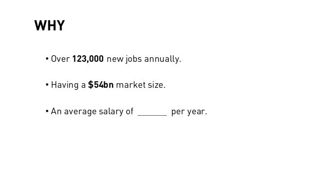 WHY • Over 123,000 new jobs annually. • Having a $54bn market size. • An average salary of per year.