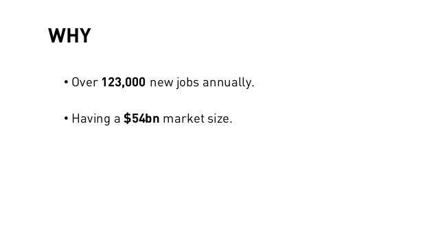 WHY • Over 123,000 new jobs annually. • Having a $54bn market size.