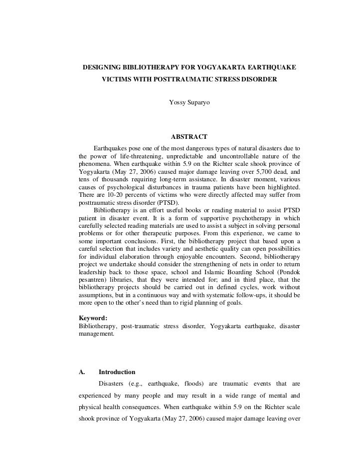 DESIGNING BIBLIOTHERAPY FOR YOGYAKARTA EARTHQUAKE        VICTIMS WITH POSTTRAUMATIC STRESS DISORDER                       ...