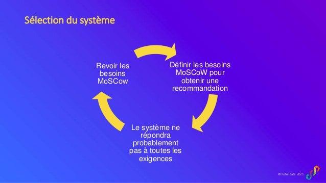 © Potentiate 2021 Sélection du système Définir les besoins MoSCoW pour obtenir une recommandation Le système ne répondra p...