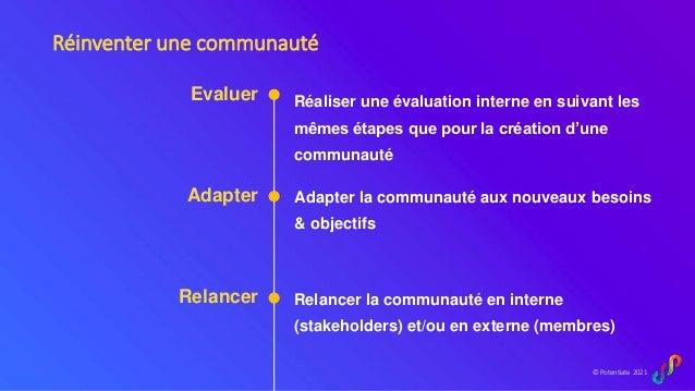 © Potentiate 2021 Evaluer Adapter Relancer Relancer la communauté en interne (stakeholders) et/ou en externe (membres) Ada...