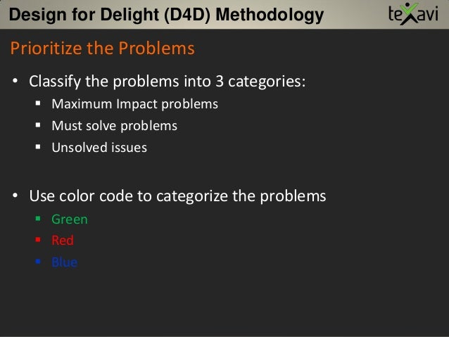 Prioritize the Problems • Classify the problems into 3 categories:  Maximum Impact problems  Must solve problems  Unsol...