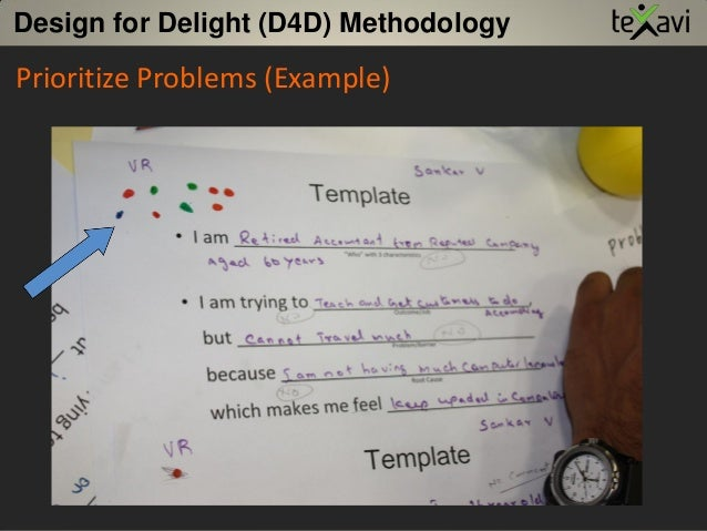 Prioritize Problems (Example) Design for Delight (D4D) Methodology