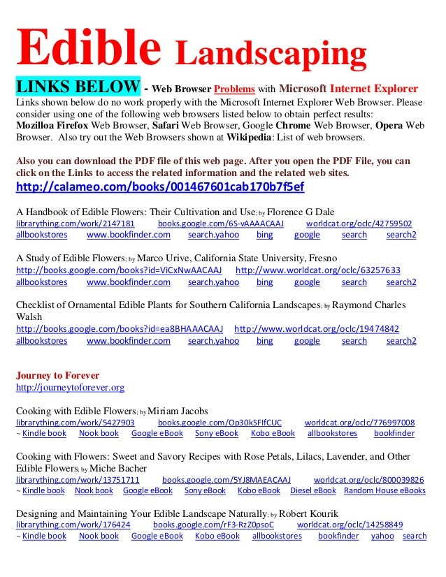 Edible Landscaping LINKS BELOW - Web Browser Problems with Microsoft Internet Explorer Links shown below do no work proper...