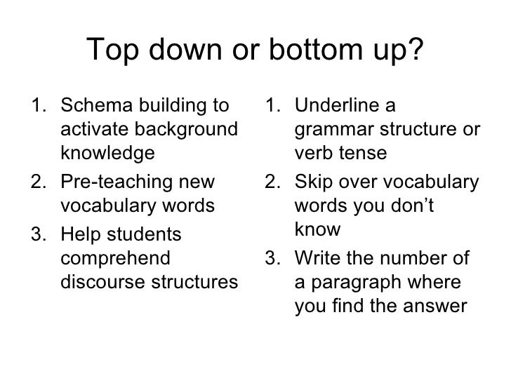 bottom up reading activities