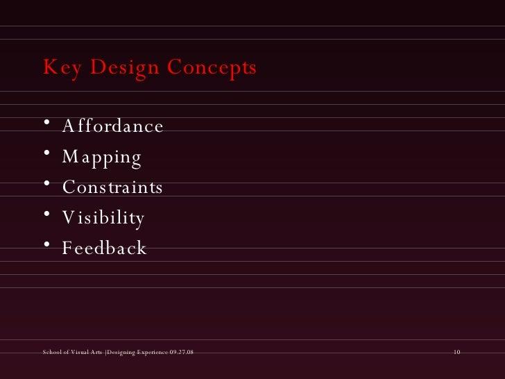 Key Design Concepts <ul><li>Affordance </li></ul><ul><li>Mapping </li></ul><ul><li>Constraints </li></ul><ul><li>Visibilit...