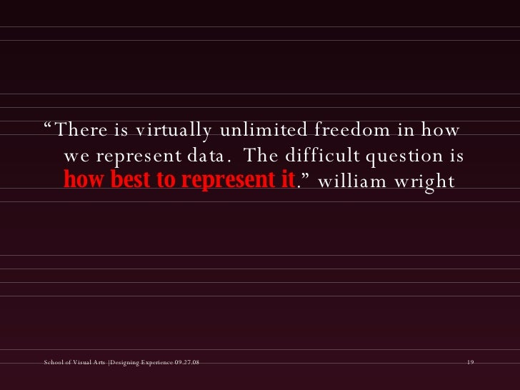 """<ul><li>"""" There is virtually unlimited freedom in how we represent data.  The difficult question is  how best to represent..."""