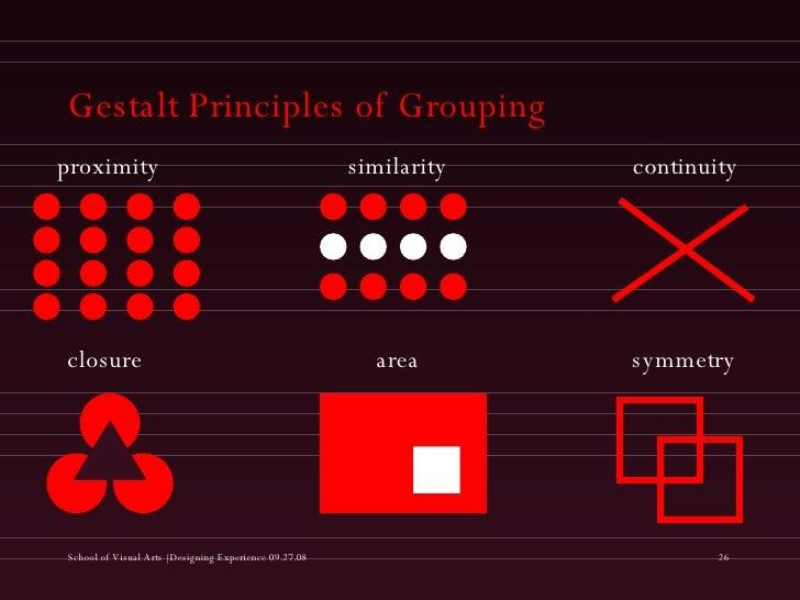 Gestalt Principles of Grouping proximity similarity continuity closure area symmetry