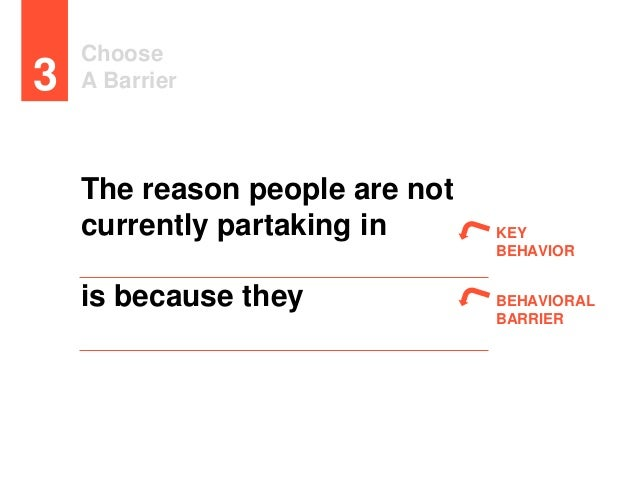 Choose A Barrier3 The reason people are not currently partaking in is because they KEY BEHAVIOR BEHAVIORAL BARRIER