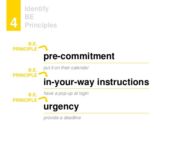 Identify BE Principles4 pre-commitment put it on their calendar in-your-way instructions have a pop-up at login urgency pr...