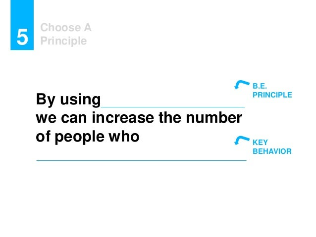Choose A Principle5 By using we can increase the number of people who B.E. PRINCIPLE KEY BEHAVIOR