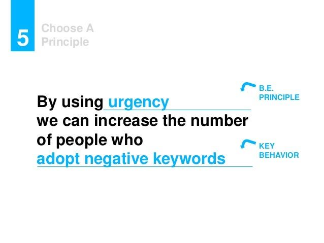Choose A Principle5 By using urgency we can increase the number of people who adopt negative keywords B.E. PRINCIPLE KEY B...