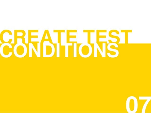 CREATE TEST CONDITIONS