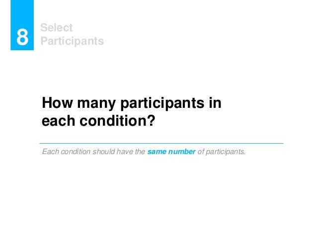 Select Participants8 How many participants in each condition? Each condition should have the same number of participants.